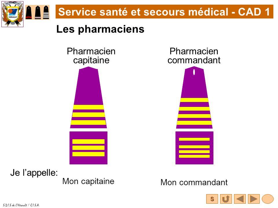 S S.D.I.S de lHérault / C.I.S.A. Service santé et secours médical - CAD 1 Les pharmaciens Pharmacien capitaine Je lappelle: Pharmacien commandant Mon
