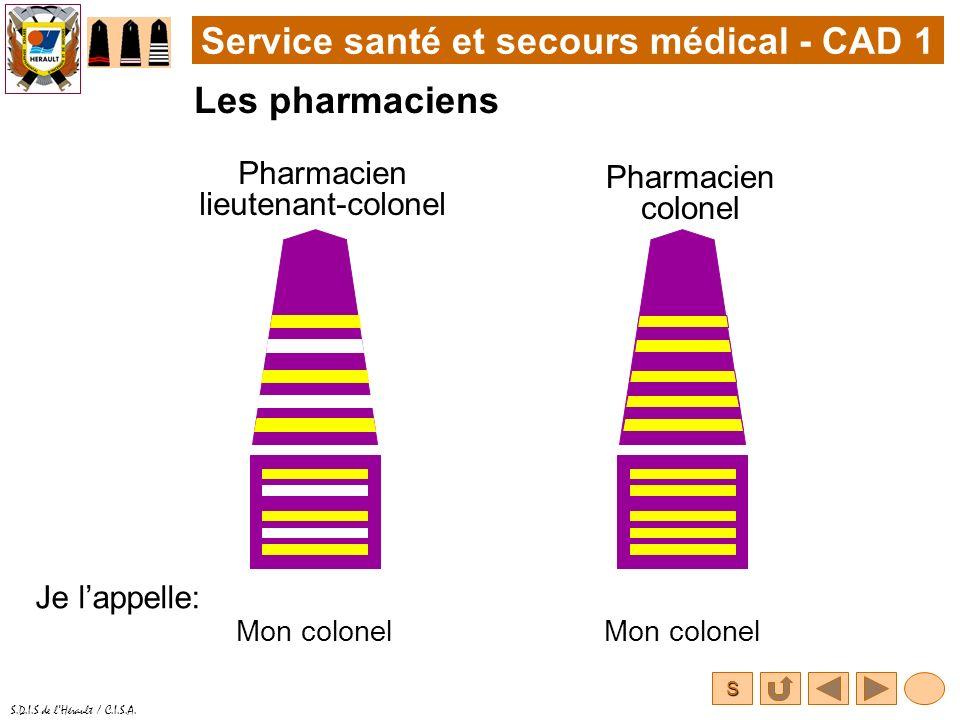 S S.D.I.S de lHérault / C.I.S.A. Service santé et secours médical - CAD 1 Les pharmaciens Pharmacien colonel Je lappelle: Mon colonel Pharmacien lieut