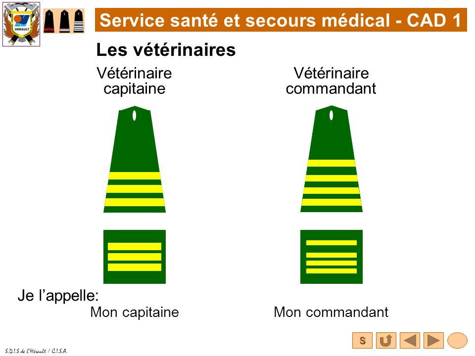 S S.D.I.S de lHérault / C.I.S.A. Service santé et secours médical - CAD 1 Les vétérinaires Vétérinaire capitaine Je lappelle: Vétérinaire commandant M