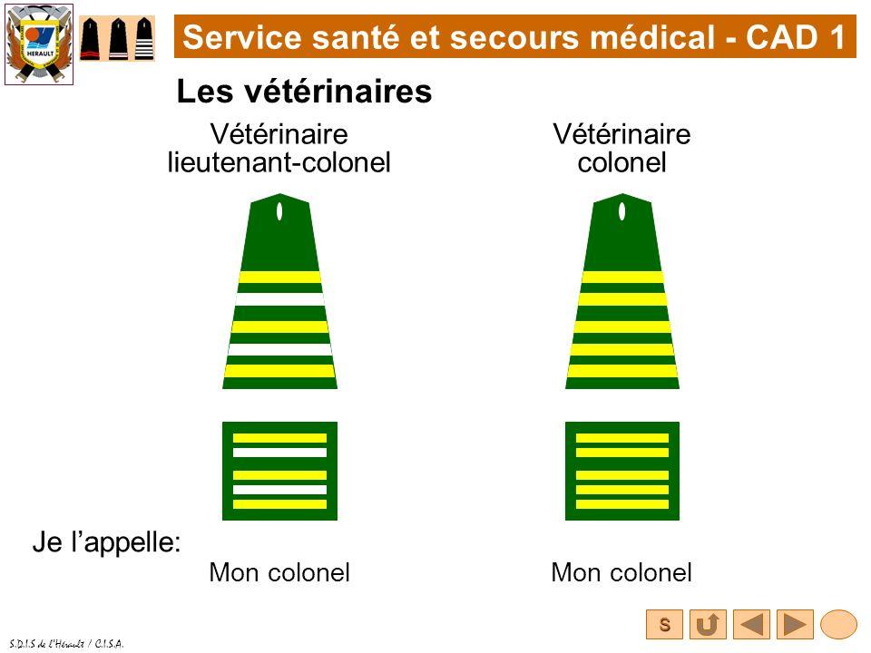 S S.D.I.S de lHérault / C.I.S.A. Service santé et secours médical - CAD 1 Les vétérinaires Vétérinaire colonel Je lappelle: Mon colonel Vétérinaire li