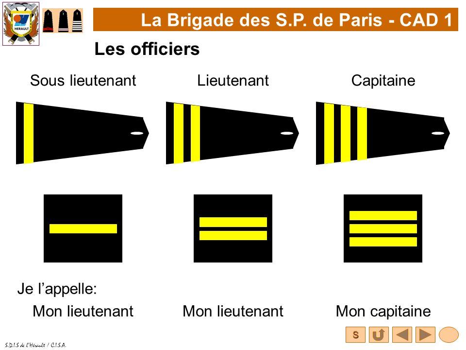 S S.D.I.S de lHérault / C.I.S.A. La Brigade des S.P. de Paris - CAD 1 Les officiers Sous lieutenantLieutenant Je lappelle: Mon lieutenant Capitaine Mo
