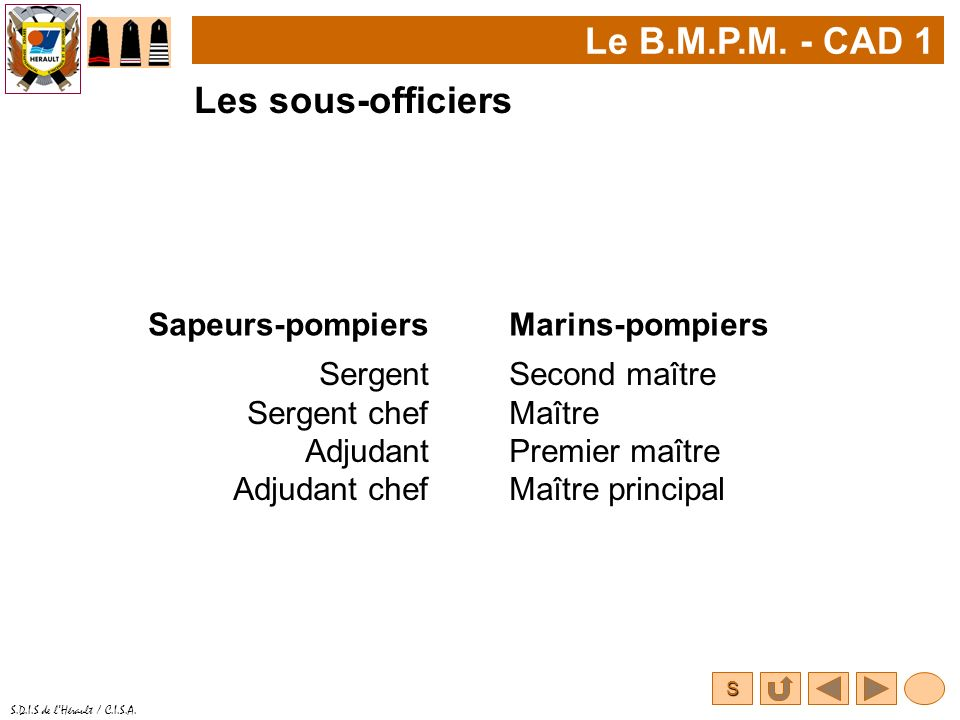 S S.D.I.S de lHérault / C.I.S.A. Le B.M.P.M. - CAD 1 Sergent Sergent chef Adjudant Adjudant chef Second maître Maître Premier maître Maître principal