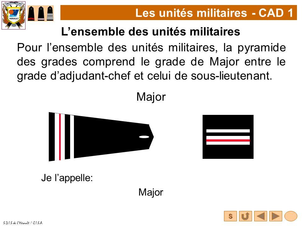 S S.D.I.S de lHérault / C.I.S.A. Pour lensemble des unités militaires, la pyramide des grades comprend le grade de Major entre le grade dadjudant-chef