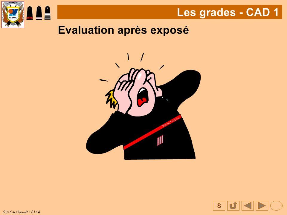 S S.D.I.S de lHérault / C.I.S.A. Evaluation après exposé Les grades - CAD 1 Sapeur-Pompier