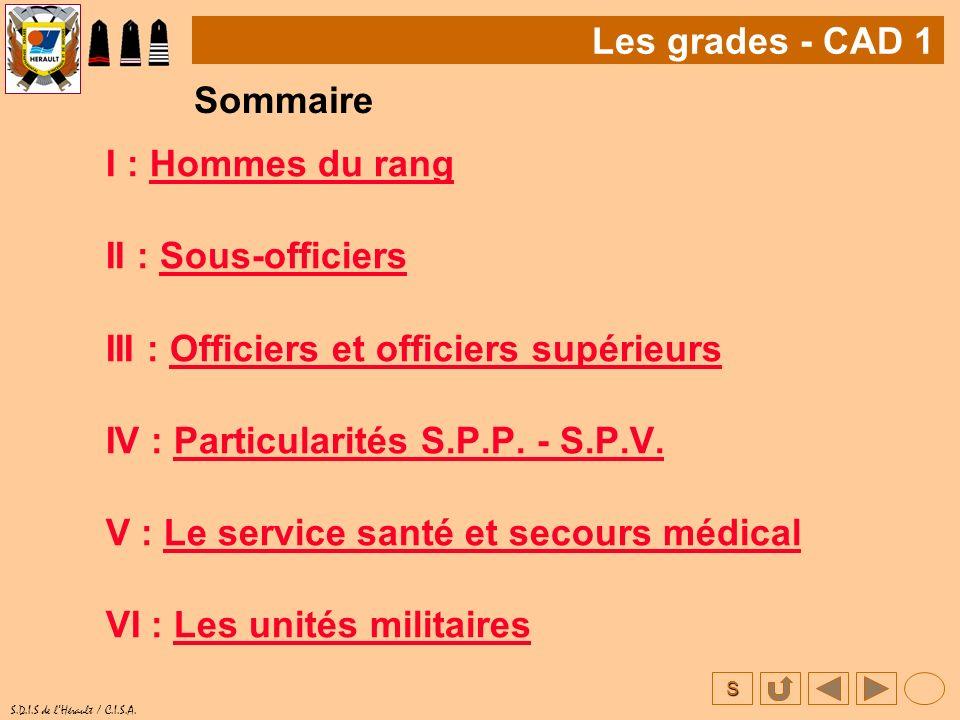 S S.D.I.S de lHérault / C.I.S.A. I : Hommes du rangHommes du rang II : Sous-officiersSous-officiers III : Officiers et officiers supérieursOfficiers e