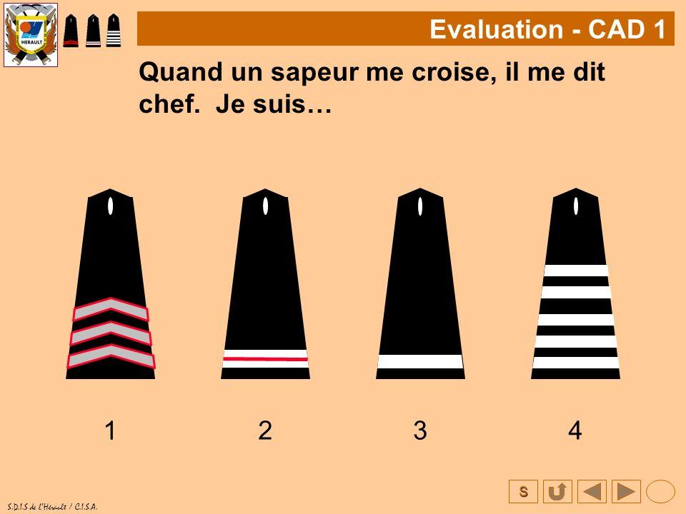 S S.D.I.S de lHérault / C.I.S.A. Quand un sapeur me croise, il me dit chef. Je suis… 1 Evaluation - CAD 1 234