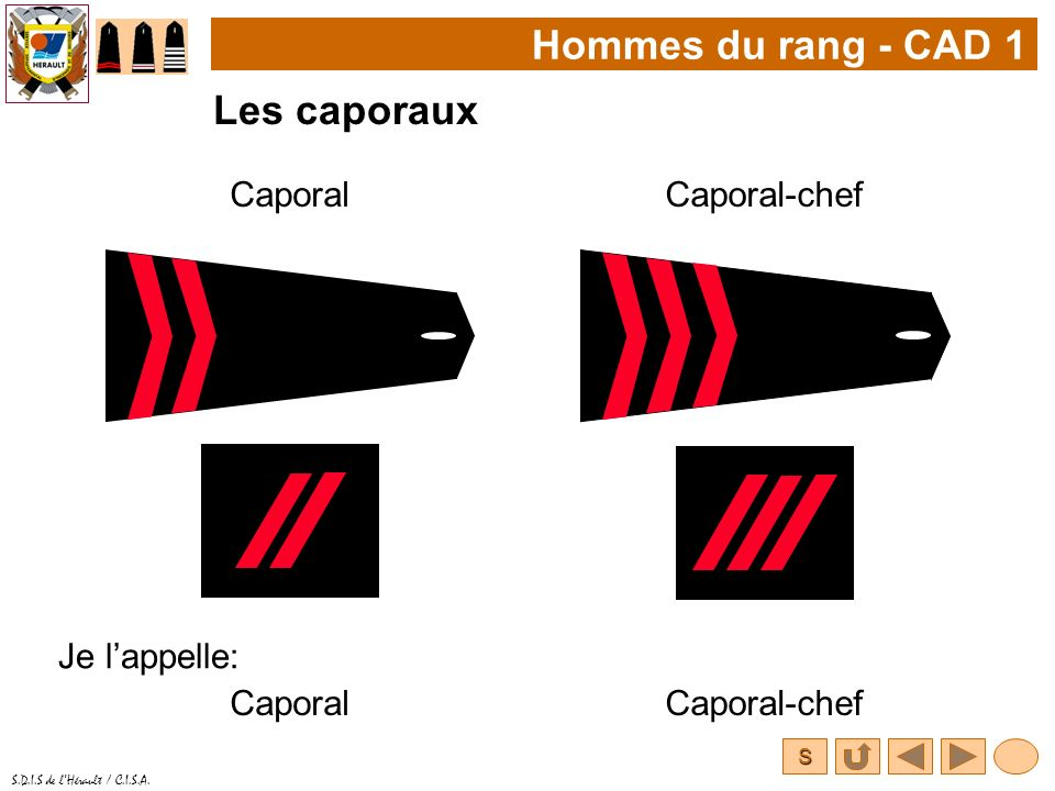 S S.D.I.S de lHérault / C.I.S.A. Hommes du rang - CAD 1 Les caporaux CaporalCaporal-chef Je lappelle: CaporalCaporal-chef