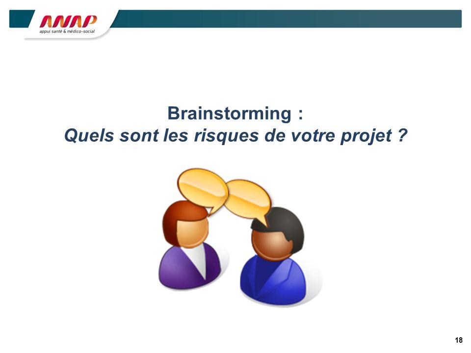 Brainstorming : Quels sont les risques de votre projet ? 18