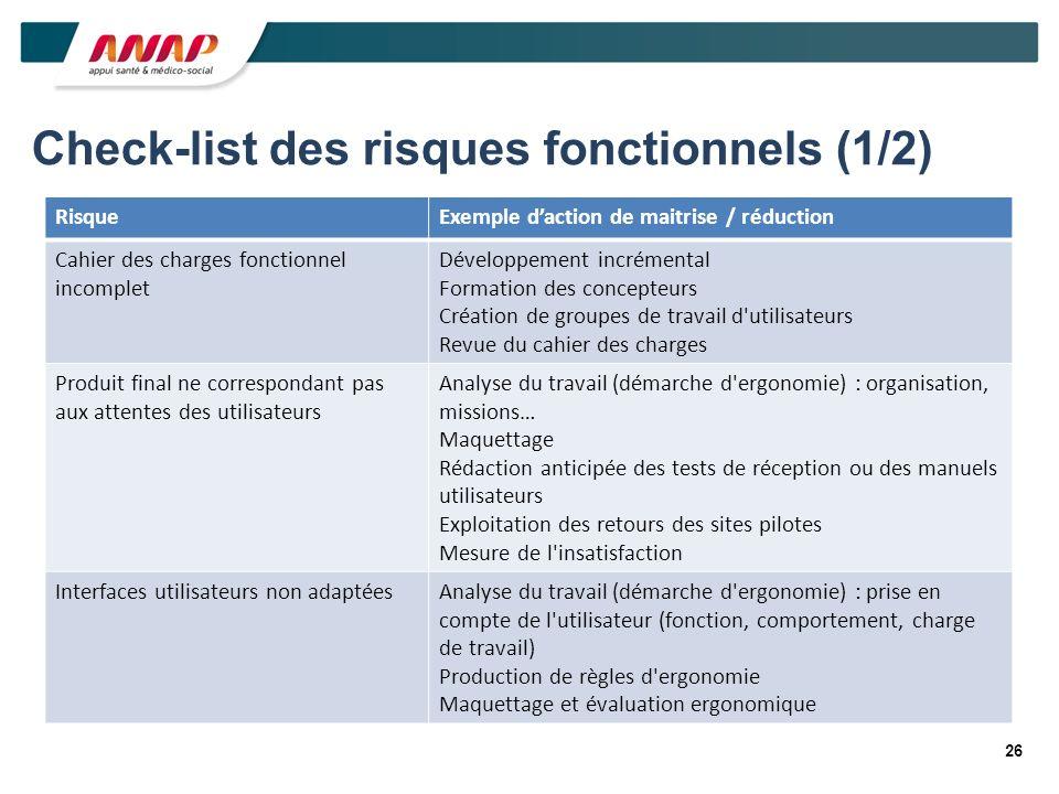 26 Check-list des risques fonctionnels (1/2) RisqueExemple daction de maitrise / réduction Cahier des charges fonctionnel incomplet Développement incr