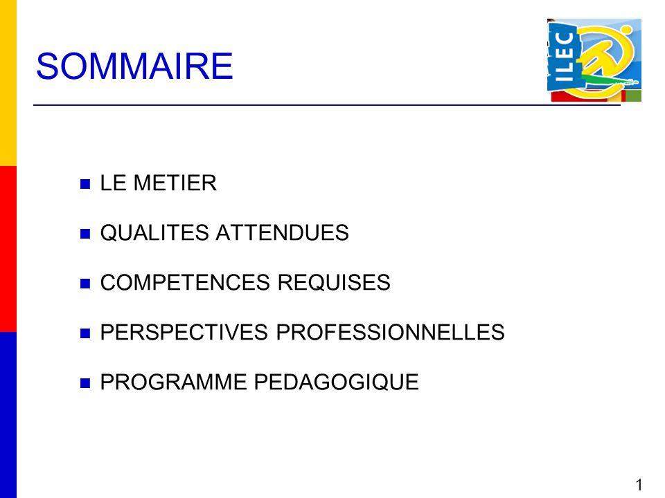 SOMMAIRE 1 LE METIER QUALITES ATTENDUES COMPETENCES REQUISES PERSPECTIVES PROFESSIONNELLES PROGRAMME PEDAGOGIQUE