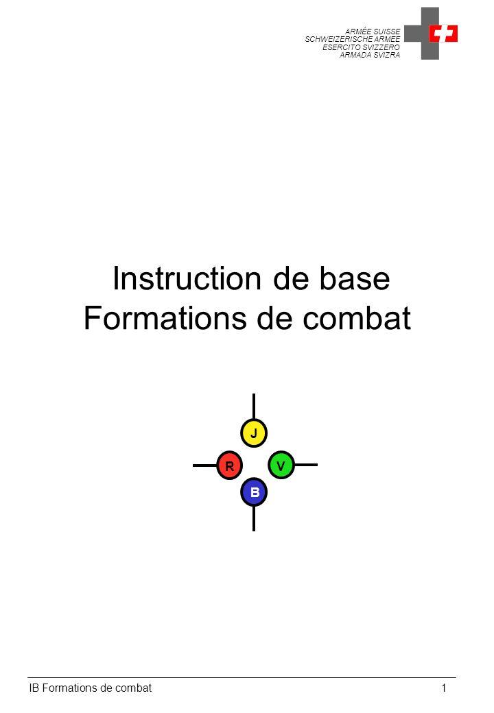 ARMÉE SUISSE SCHWEIZERISCHE ARMEE ESERCITO SVIZZERO ARMADA SVIZRA IB Formations de combat1 Instruction de base Formations de combat J V B R
