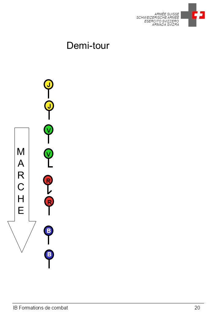 ARMÉE SUISSE SCHWEIZERISCHE ARMEE ESERCITO SVIZZERO ARMADA SVIZRA IB Formations de combat20 Demi-tour MARCHEMARCHE V V B B R R J J