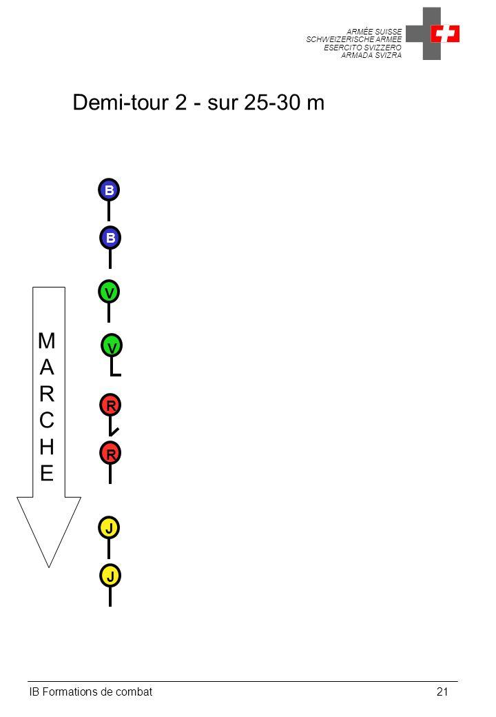 ARMÉE SUISSE SCHWEIZERISCHE ARMEE ESERCITO SVIZZERO ARMADA SVIZRA IB Formations de combat21 Demi-tour 2 - sur 25-30 m MARCHEMARCHE V V B B R R J J