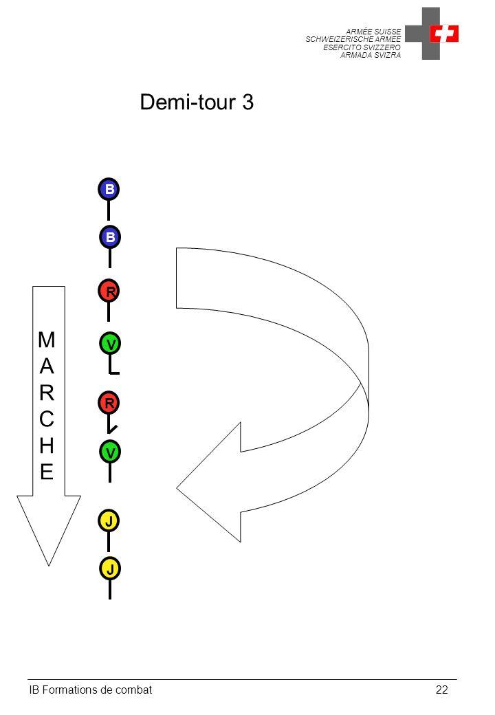 ARMÉE SUISSE SCHWEIZERISCHE ARMEE ESERCITO SVIZZERO ARMADA SVIZRA IB Formations de combat22 Demi-tour 3 MARCHEMARCHE V V B B R R J J