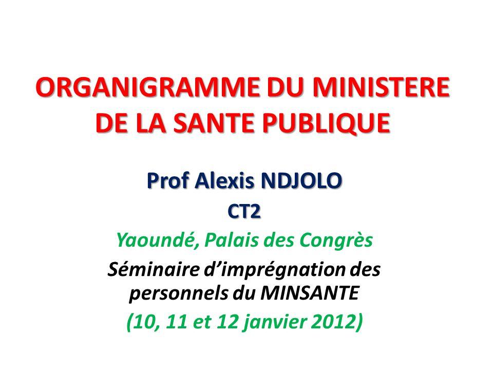 ORGANIGRAMME DU MINISTERE DE LA SANTE PUBLIQUE Prof Alexis NDJOLO CT2 Yaoundé, Palais des Congrès Séminaire dimprégnation des personnels du MINSANTE (