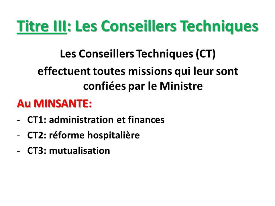 Titre III: Les Conseillers Techniques Les Conseillers Techniques (CT) effectuent toutes missions qui leur sont confiées par le Ministre Au MINSANTE: -