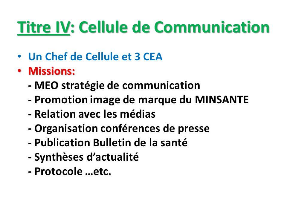 Titre IV: Cellule de Communication Un Chef de Cellule et 3 CEA Missions: Missions: - MEO stratégie de communication - Promotion image de marque du MIN