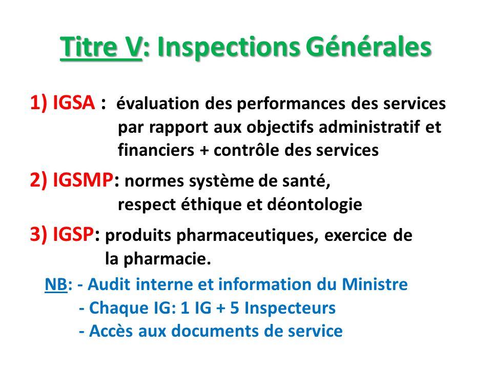 Titre V: Inspections Générales 1) IGSA : évaluation des performances des services par rapport aux objectifs administratif et financiers + contrôle des