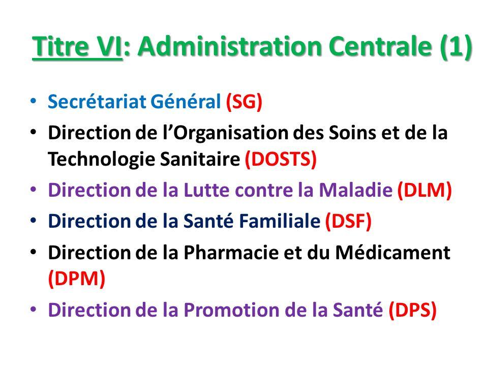 Titre VI: Administration Centrale (1) Secrétariat Général (SG) Direction de lOrganisation des Soins et de la Technologie Sanitaire (DOSTS) Direction d