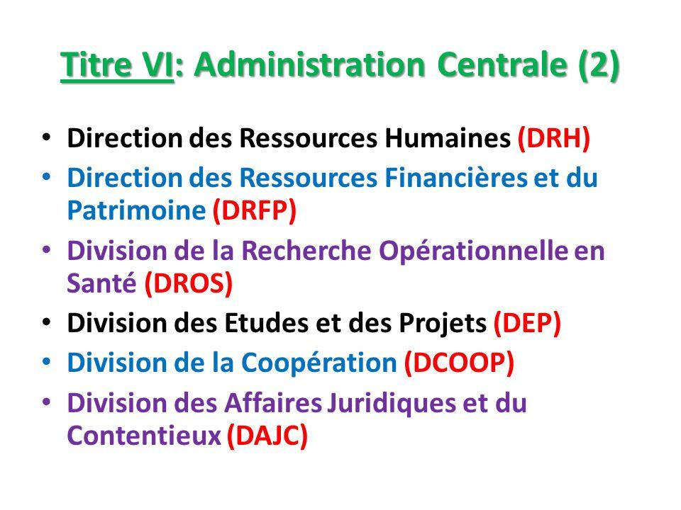 Titre VI: Administration Centrale (2) Direction des Ressources Humaines (DRH) Direction des Ressources Financières et du Patrimoine (DRFP) Division de