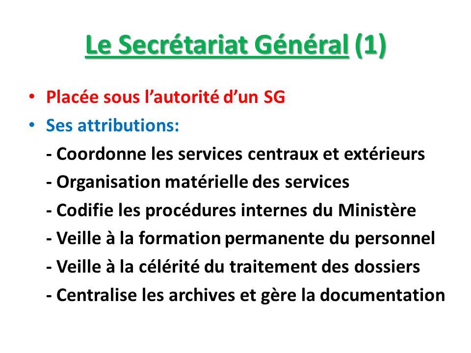 Le Secrétariat Général (1) Placée sous lautorité dun SG Ses attributions: - Coordonne les services centraux et extérieurs - Organisation matérielle de