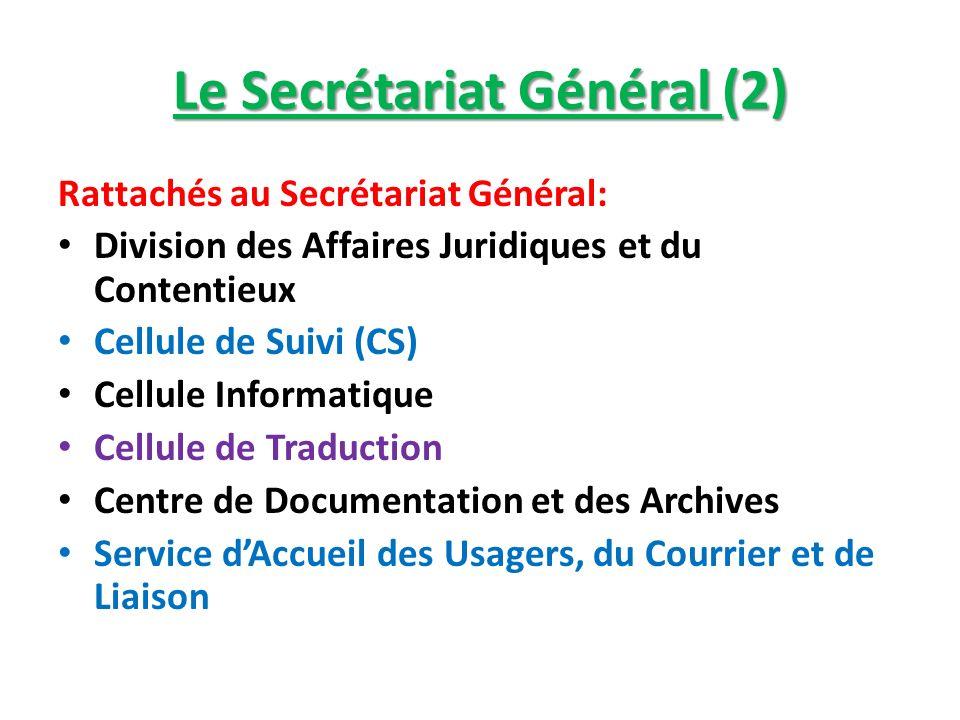 Le Secrétariat Général (2) Rattachés au Secrétariat Général: Division des Affaires Juridiques et du Contentieux Cellule de Suivi (CS) Cellule Informat