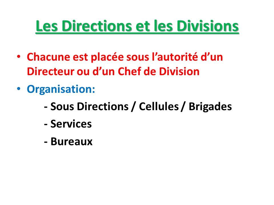 Les Directions et les Divisions Chacune est placée sous lautorité dun Directeur ou dun Chef de Division Organisation: - Sous Directions / Cellules / B
