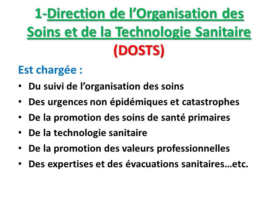 1-Direction de lOrganisation des Soins et de la Technologie Sanitaire (DOSTS) Est chargée : Du suivi de lorganisation des soins Des urgences non épidé