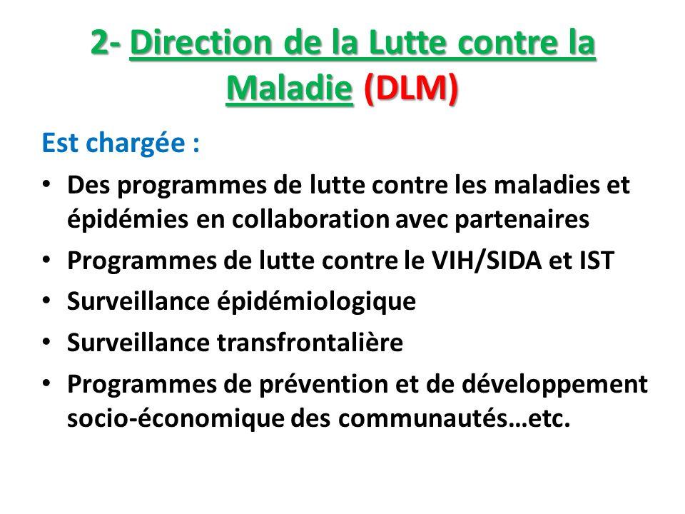 2- Direction de la Lutte contre la Maladie (DLM) Est chargée : Des programmes de lutte contre les maladies et épidémies en collaboration avec partenai