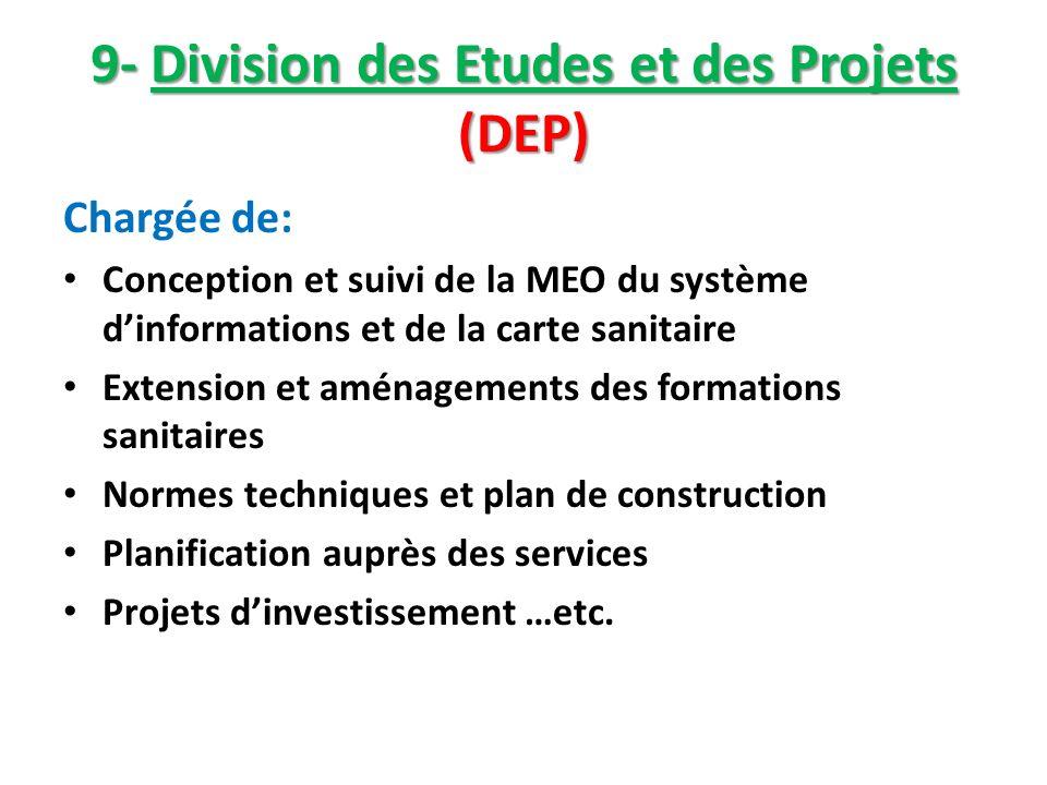 9- Division des Etudes et des Projets (DEP) Chargée de: Conception et suivi de la MEO du système dinformations et de la carte sanitaire Extension et a