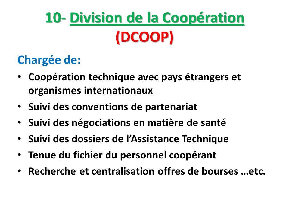 10- Division de la Coopération (DCOOP) Chargée de: Coopération technique avec pays étrangers et organismes internationaux Suivi des conventions de par