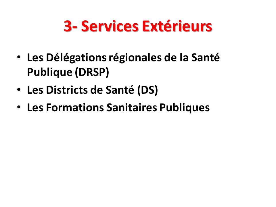 3- Services Extérieurs Les Délégations régionales de la Santé Publique (DRSP) Les Districts de Santé (DS) Les Formations Sanitaires Publiques