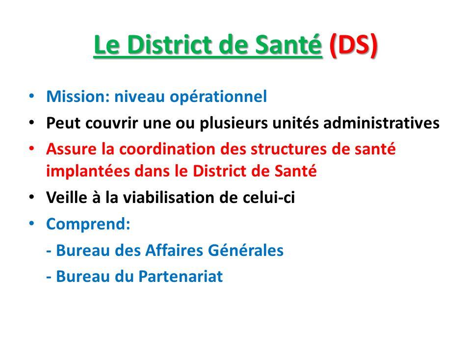 Le District de Santé (DS) Mission: niveau opérationnel Peut couvrir une ou plusieurs unités administratives Assure la coordination des structures de s