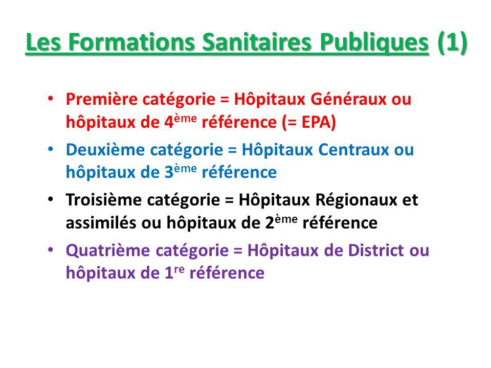 Les Formations Sanitaires Publiques (1) Première catégorie = Hôpitaux Généraux ou hôpitaux de 4 ème référence (= EPA) Deuxième catégorie = Hôpitaux Ce