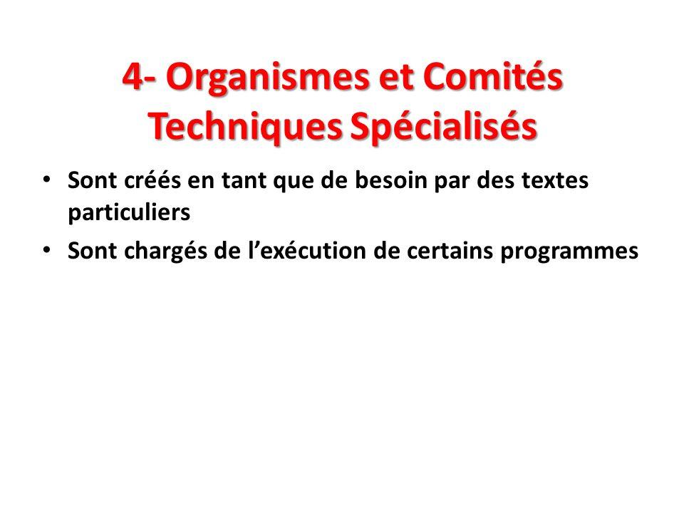 4- Organismes et Comités Techniques Spécialisés Sont créés en tant que de besoin par des textes particuliers Sont chargés de lexécution de certains pr