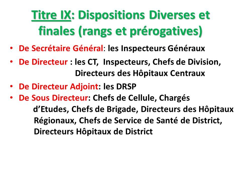 Titre IX: Dispositions Diverses et finales (rangs et prérogatives) De Secrétaire Général: les Inspecteurs Généraux De Directeur : les CT, Inspecteurs,