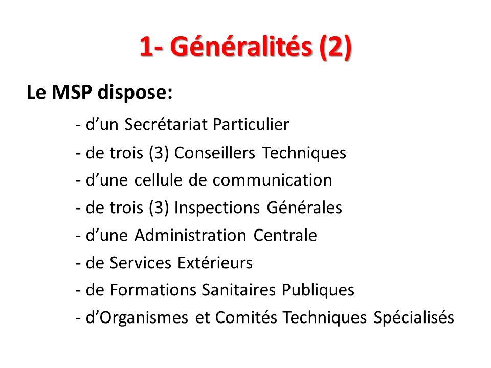1- Généralités (2) Le MSP dispose: - dun Secrétariat Particulier - de trois (3) Conseillers Techniques - dune cellule de communication - de trois (3)