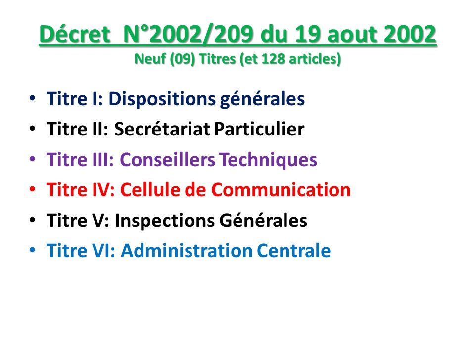 Décret N°2002/209 du 19 aout 2002 Neuf (09) Titres (et 128 articles) Titre I: Dispositions générales Titre II: Secrétariat Particulier Titre III: Cons