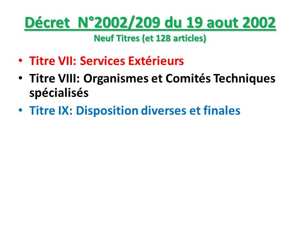Décret N°2002/209 du 19 aout 2002 Neuf Titres (et 128 articles) Titre VII: Services Extérieurs Titre VIII: Organismes et Comités Techniques spécialisé
