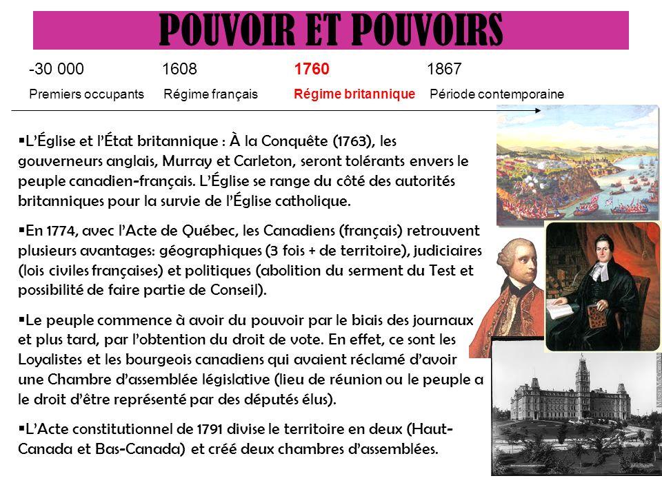 LÉglise et lÉtat britannique : À la Conquête (1763), les gouverneurs anglais, Murray et Carleton, seront tolérants envers le peuple canadien-français.