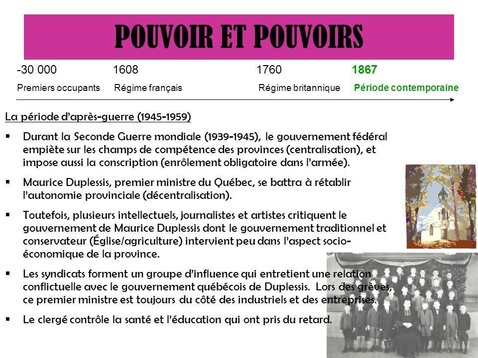 La période daprès-guerre (1945-1959) Durant la Seconde Guerre mondiale (1939-1945), le gouvernement fédéral empiète sur les champs de compétence des provinces (centralisation), et impose aussi la conscription (enrôlement obligatoire dans larmée).