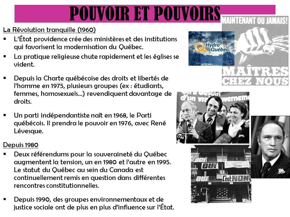 La Révolution tranquille (1960) LÉtat providence crée des ministères et des institutions qui favorisent la modernisation du Québec.