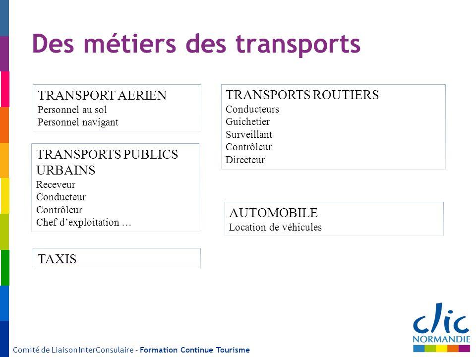 Comité de Liaison InterConsulaire – Formation Continue Tourisme Des métiers des transports TRANSPORT AERIEN Personnel au sol Personnel navigant TRANSP