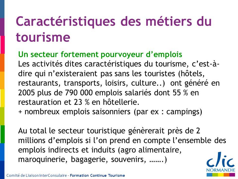 Caractéristiques des métiers du tourisme Un secteur fortement pourvoyeur demplois Les activités dites caractéristiques du tourisme, cest-à- dire qui n