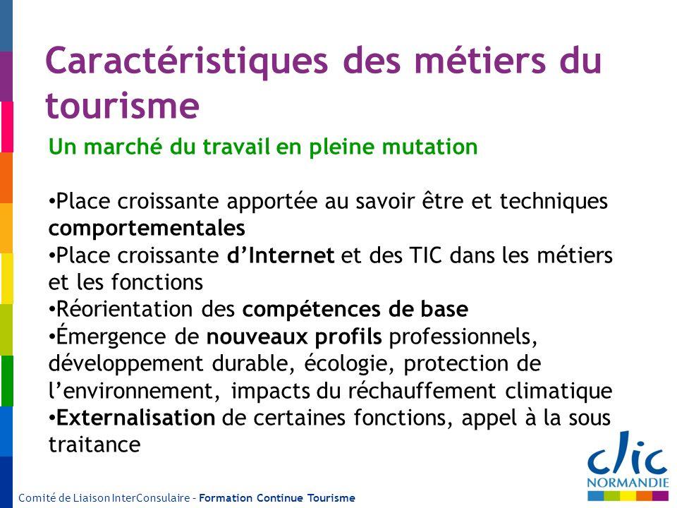 Comité de Liaison InterConsulaire – Formation Continue Tourisme Caractéristiques des métiers du tourisme Un marché du travail en pleine mutation Place