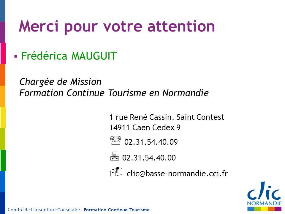 Merci pour votre attention 1 rue René Cassin, Saint Contest 14911 Caen Cedex 9 02.31.54.40.09 02.31.54.40.00 clic@basse-normandie.cci.fr Frédérica MAU