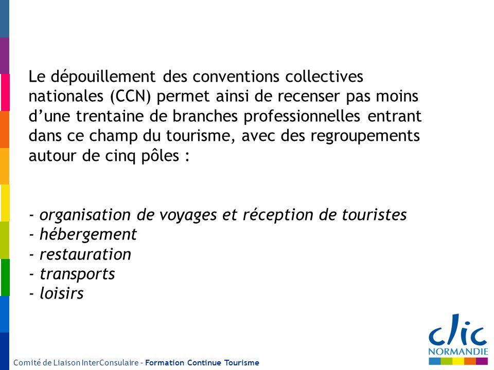 Comité de Liaison InterConsulaire – Formation Continue Tourisme Le dépouillement des conventions collectives nationales (CCN) permet ainsi de recenser