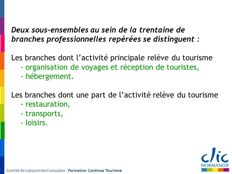 Comité de Liaison InterConsulaire – Formation Continue Tourisme Deux sous-ensembles au sein de la trentaine de branches professionnelles repérées se d