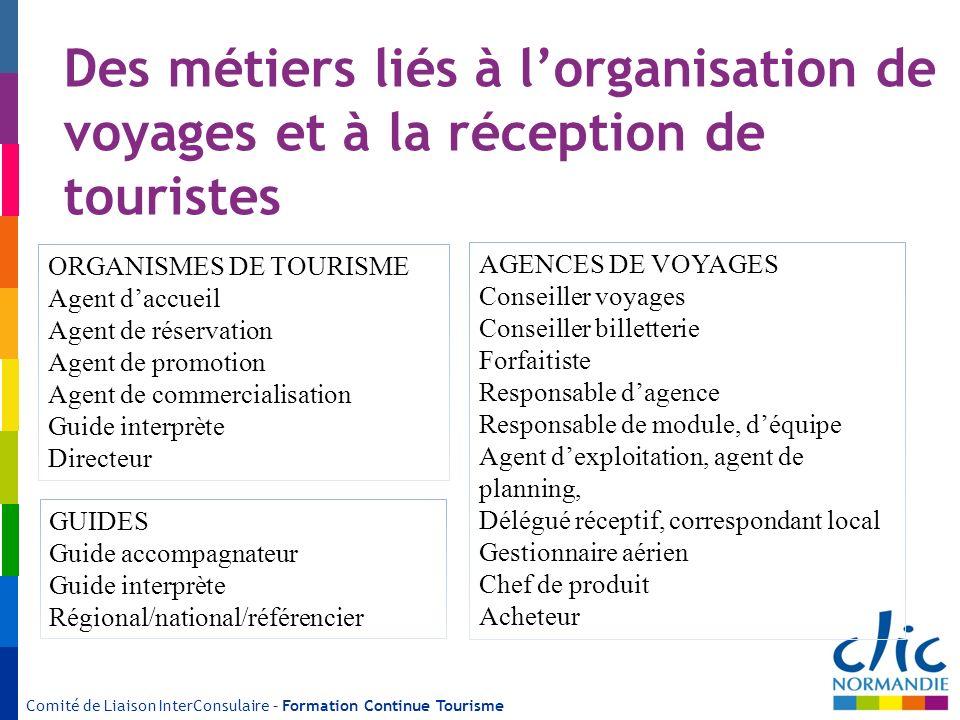 Comité de Liaison InterConsulaire – Formation Continue Tourisme Des métiers liés à lorganisation de voyages et à la réception de touristes ORGANISMES