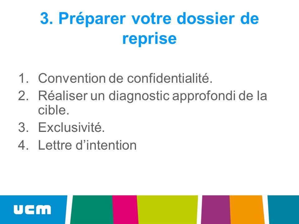 3. Préparer votre dossier de reprise 1.Convention de confidentialité. 2.Réaliser un diagnostic approfondi de la cible. 3.Exclusivité. 4.Lettre dintent